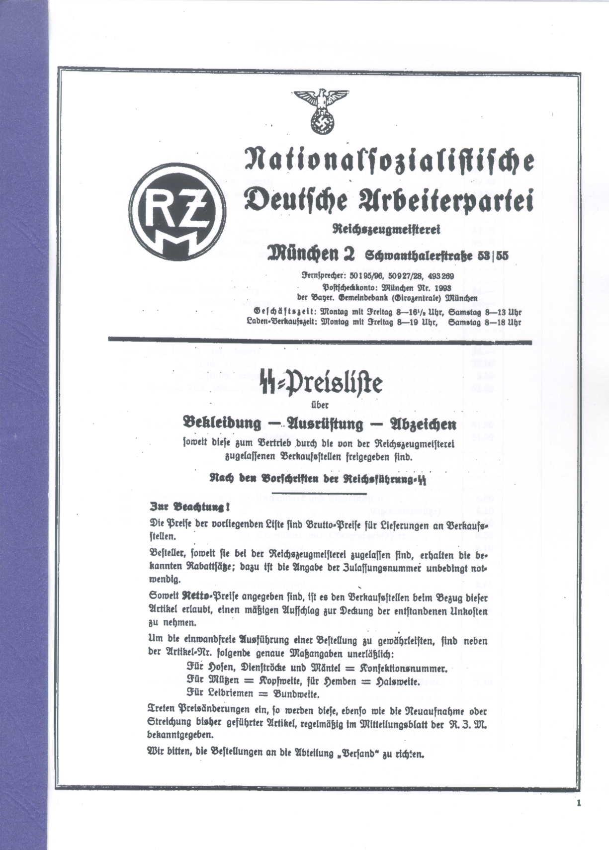 SS-Preisliste der RZM = Reichszeugmeisterei
