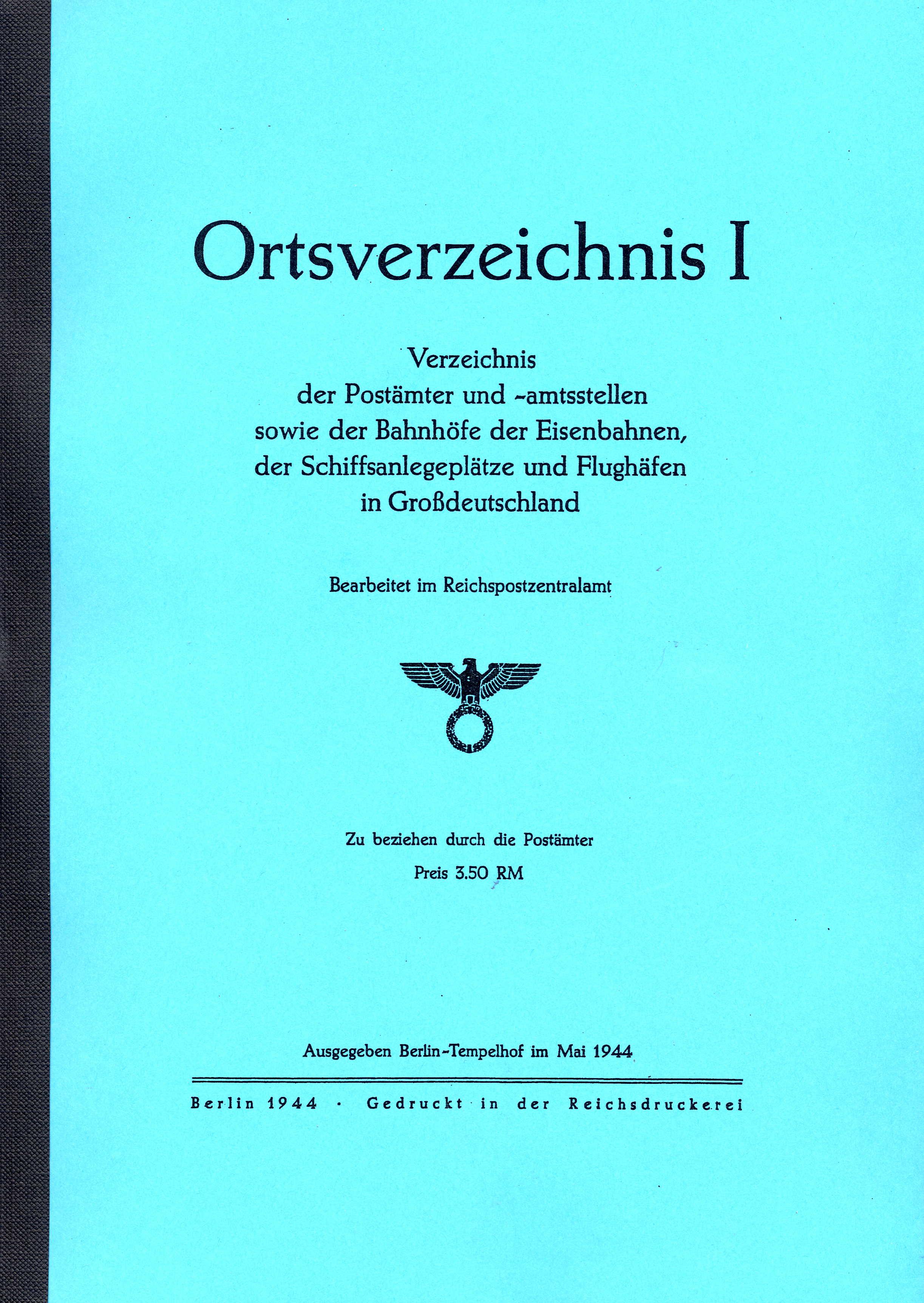 Ortsverzeichnis I (OV I) Großdeutschland