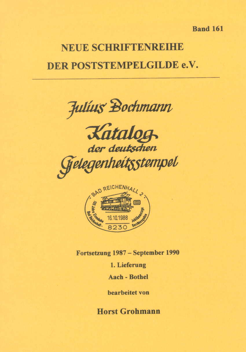 Bochmann Stempelkatalog Deutschland Fortsetzung 1987-90 Heft 161