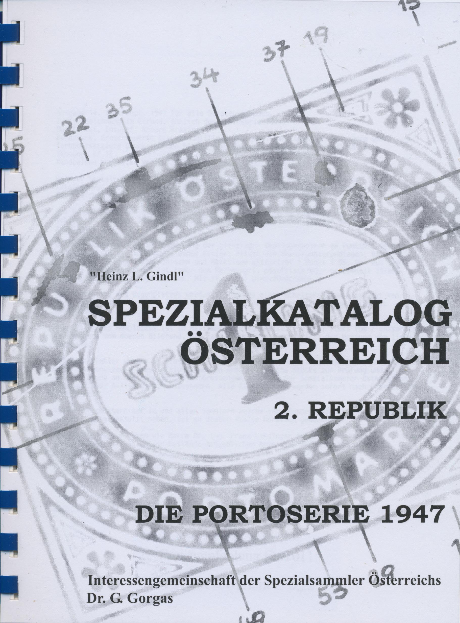 Gindl Heinz L. Spezialkatalog Österreich 2. Republik Die Portose
