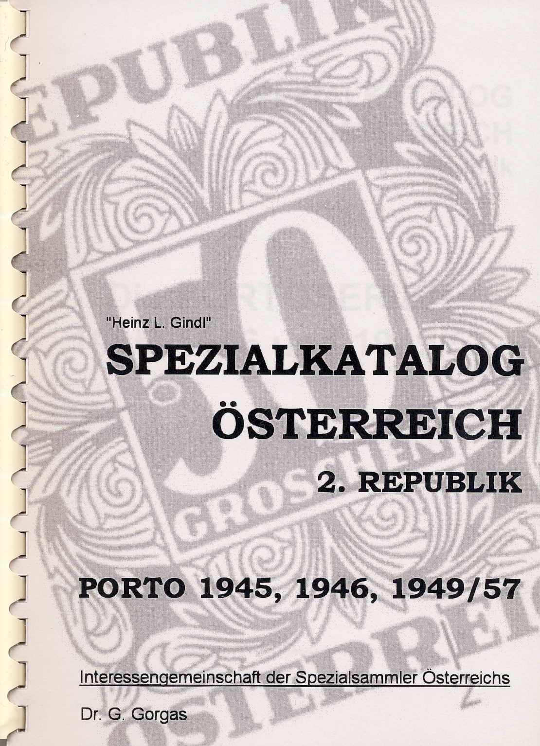 ÖSTERREICH GINDL-Plattenfehler-Katalog Porto 1947/49