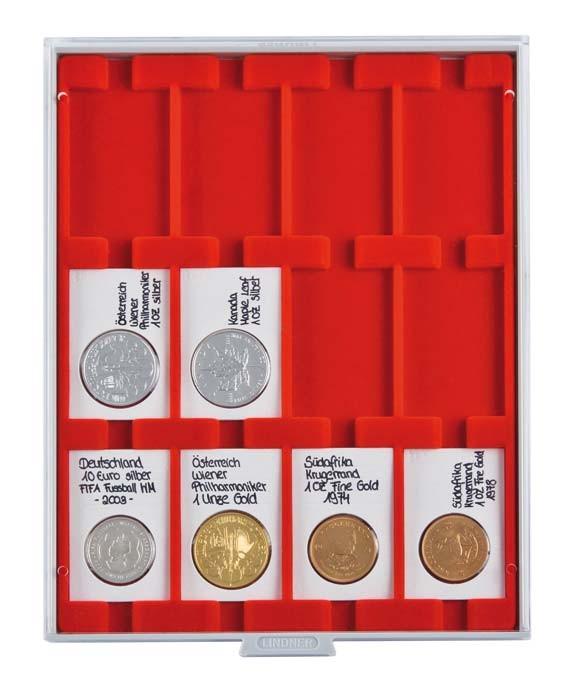 Lindner Münzenbox mit 12 rechteckigen Vertief. 50x70mm Nr. 2170