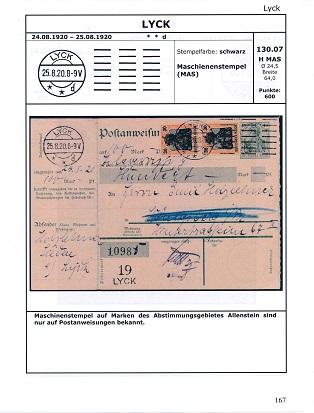 Gruber, Gunnar Stempelkatalog Abstimmungsgebiet Allenstein 1920
