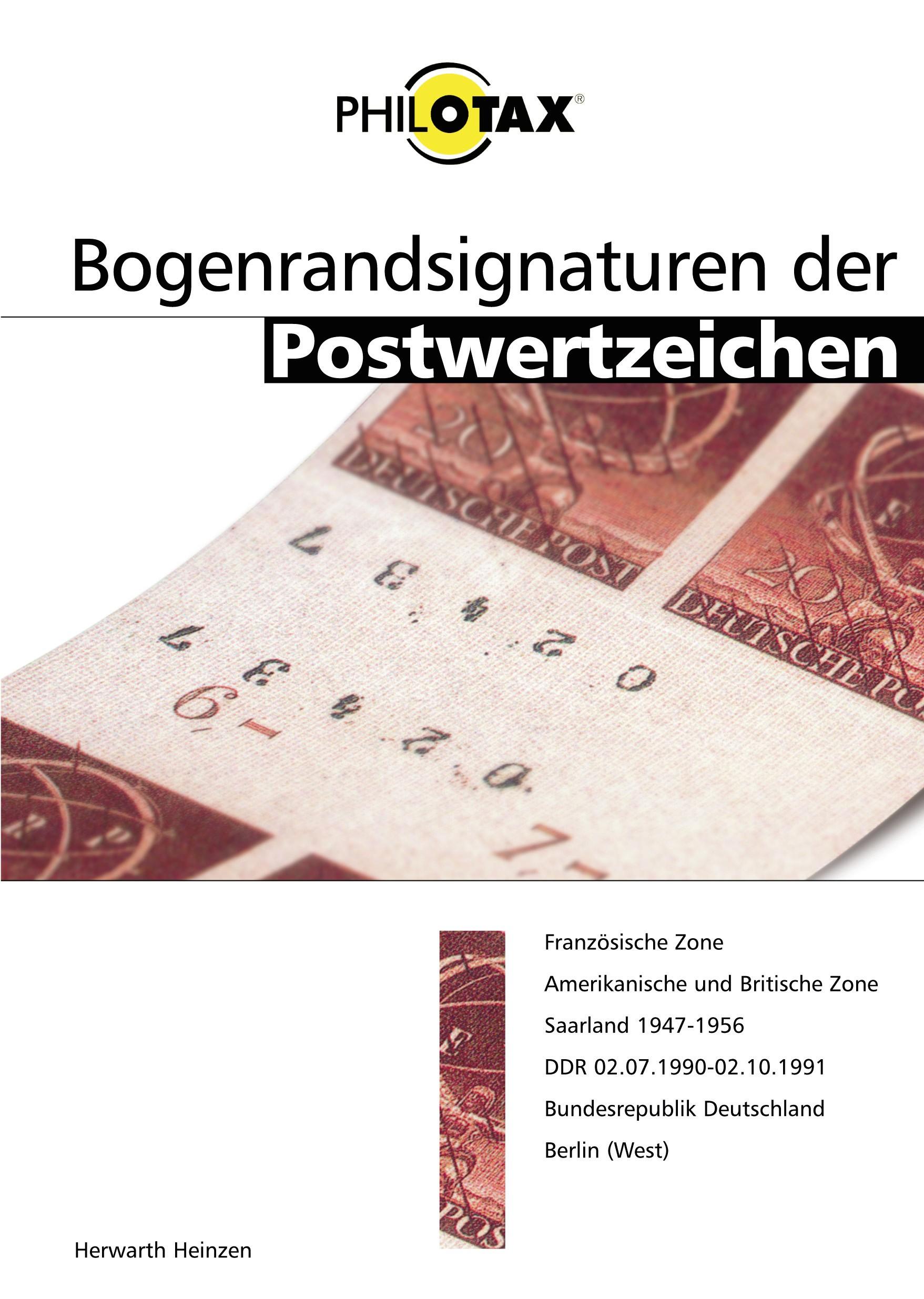 Philotax Katalog Bogenrandsignaturen Deutschland
