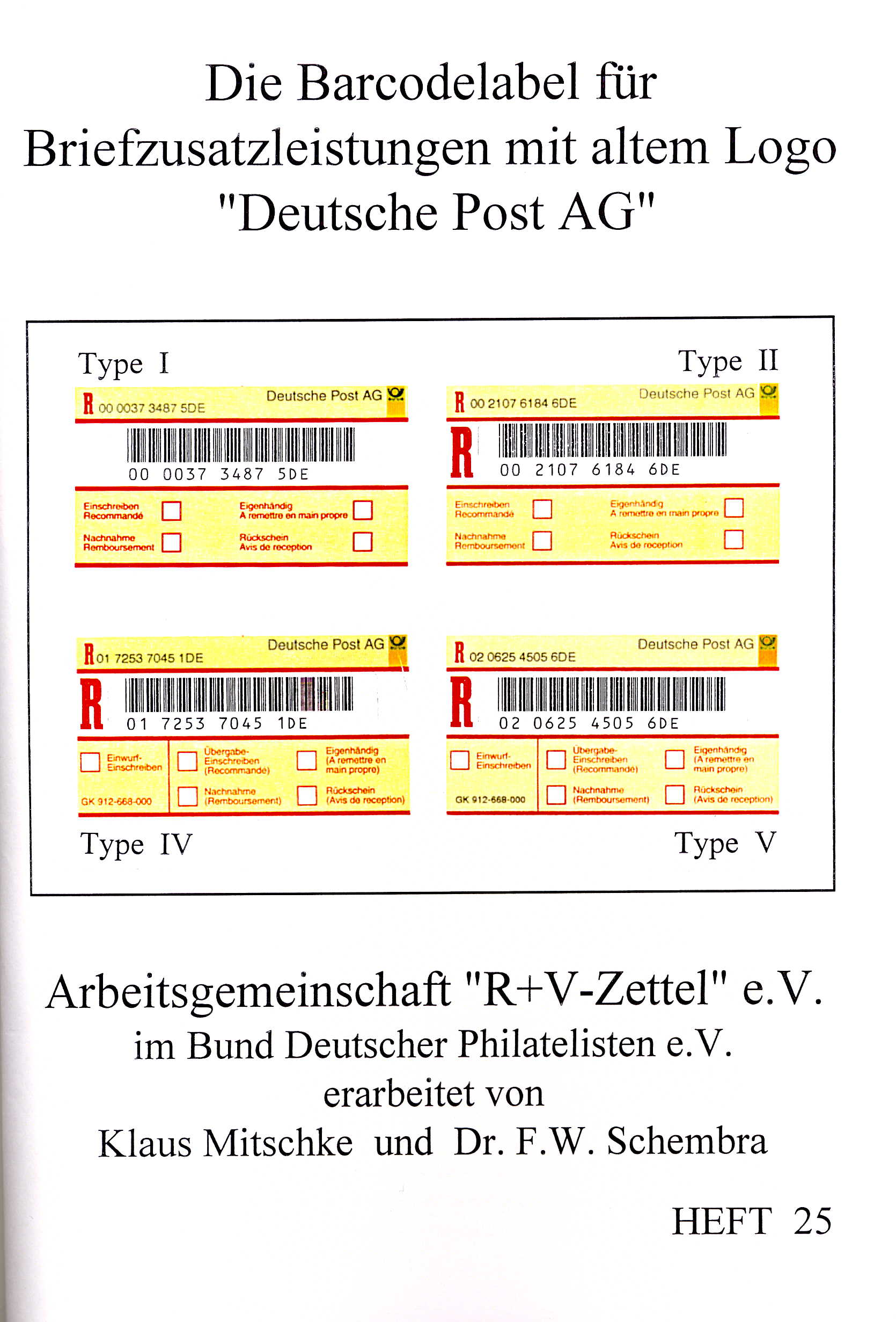 Mitschke/Schembra Katalog Die Barcodelabel für Briefzusatzleistu