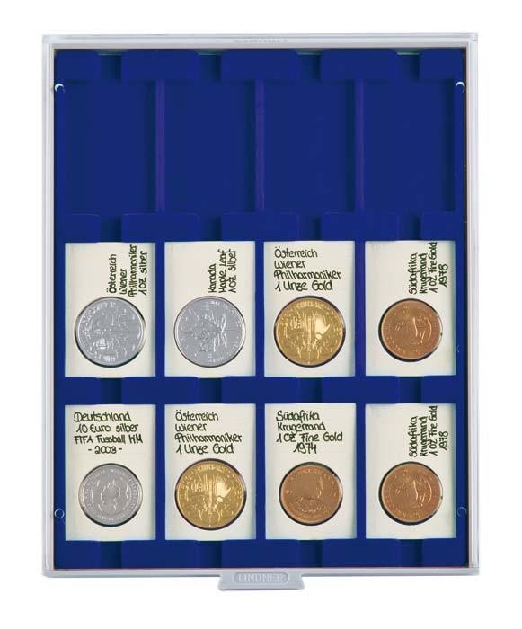 Lindner Münzenbox mit 12 rechteckigen Vertief. 50x70mm Nr. 2170M