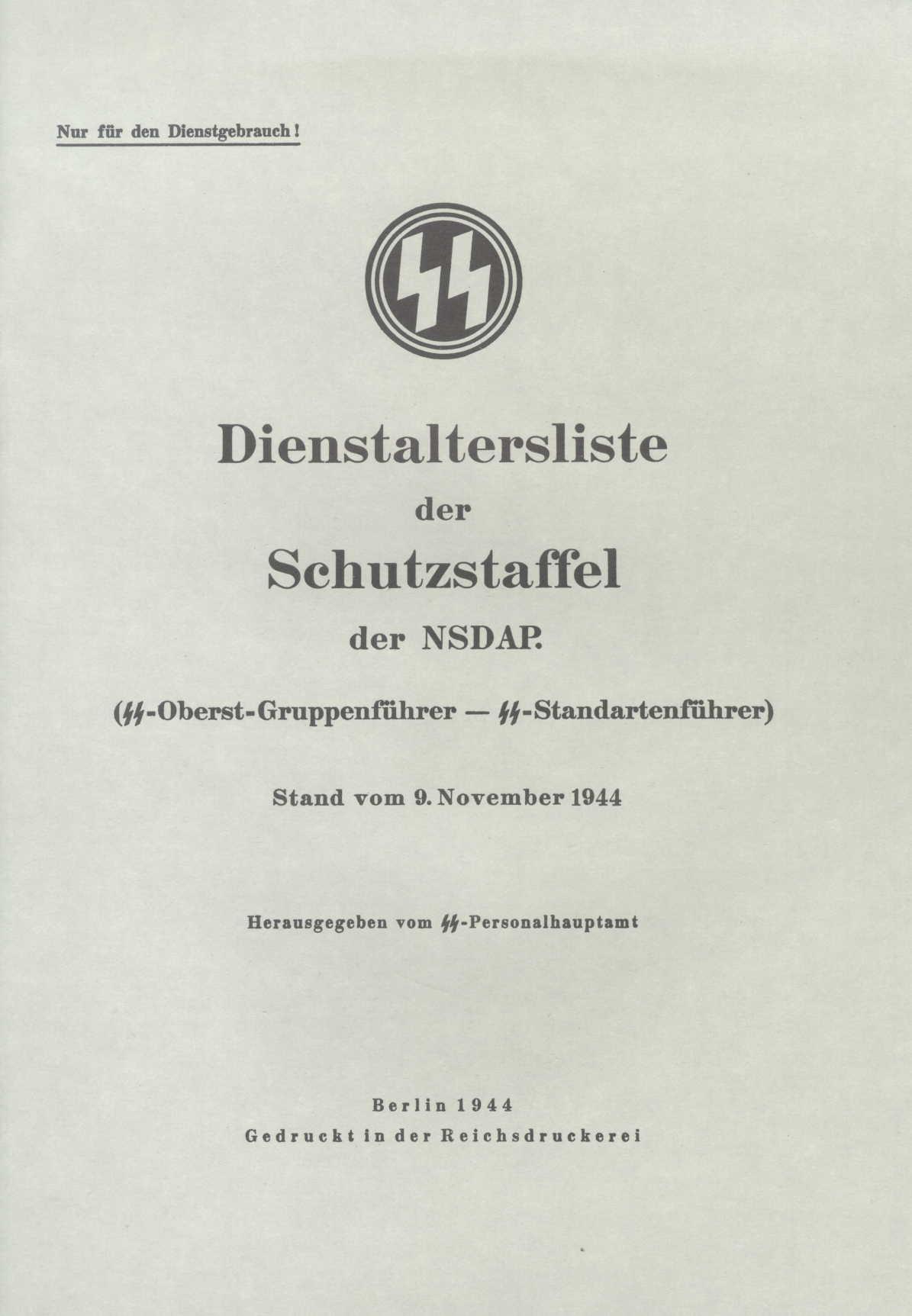 Dienstalterliste II der Schutzstaffel der NSDAP
