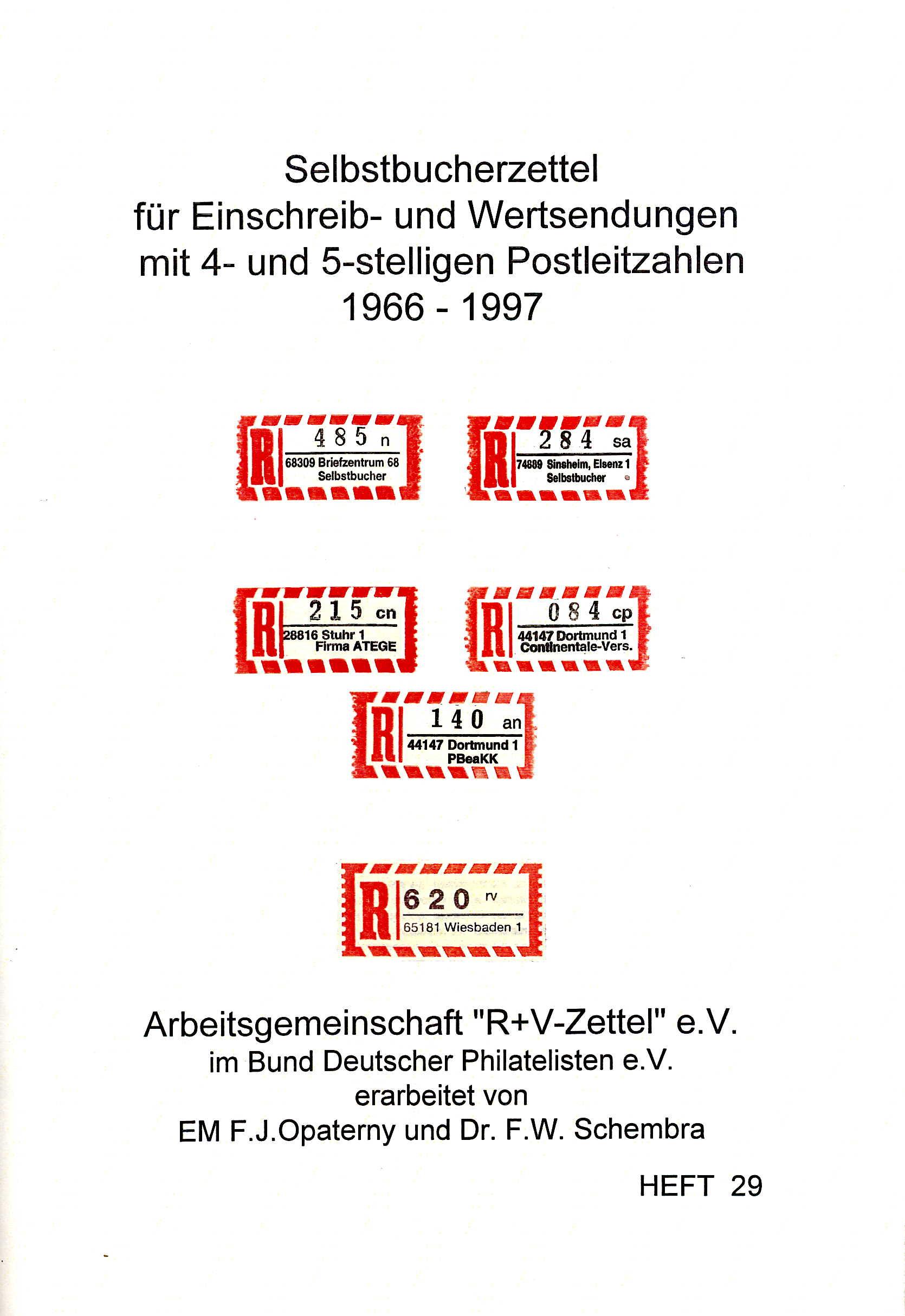Opaterny/Schembra Handbuch Selbstbucherzettel für Einschreib- un