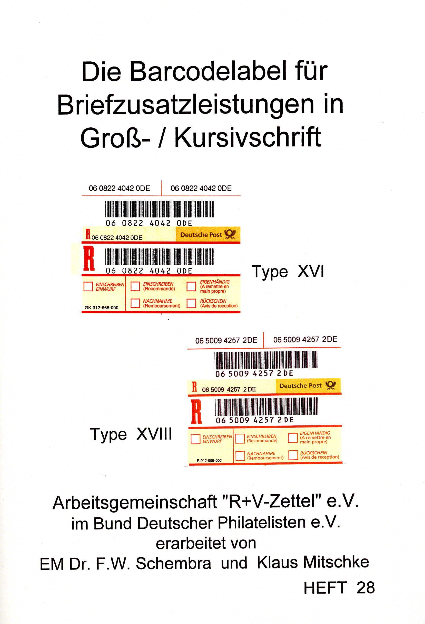 Schembra/Mitschke Katalog Die Barcodelabel für Briefzusatzleistu